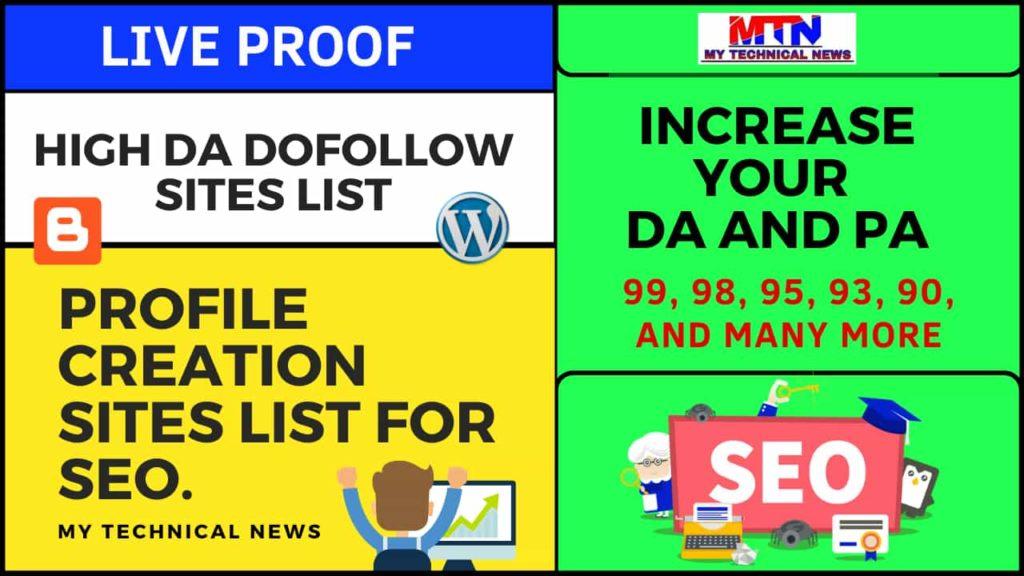High DA Dofollow Profile Creation Sites List For SEO.