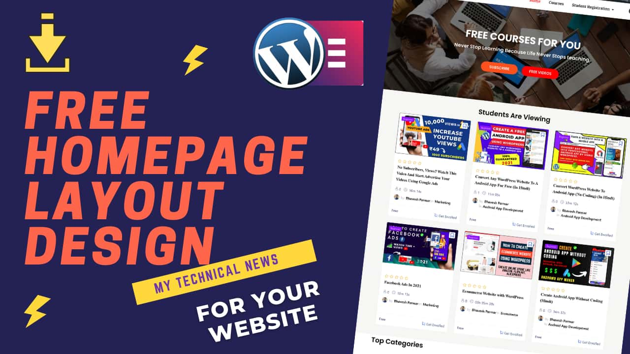 Free Download WordPress Homepage Layout Design